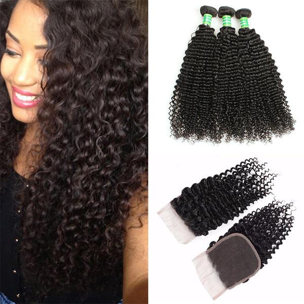 Afro crépus Curly Trames De Cheveux Humains Avec Fermeture En Dentelle 8A Brésilienne Vierge Bouclés Armure de Cheveux 3 Bundles Avec Fermeture En Gros Extensions De Cheveux