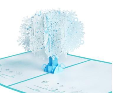 Yaratıcı Noel kartları tedarik beyaz kar tanesi 3D 3D Noel kartları kağıt oyma el yapımı Noel kartları