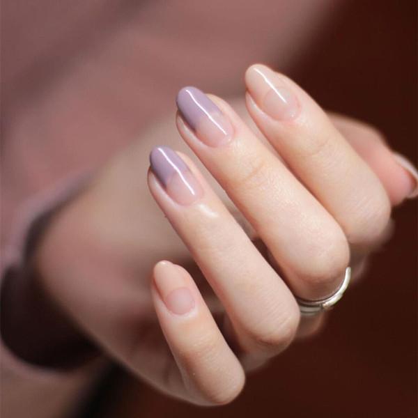 New 24pcs/set Purple Gray+Bare Powder French False Nails Fake nails,Middle-long girl Small Round head full nail tips art tools