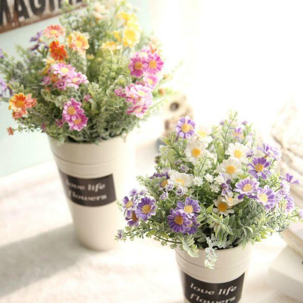 2 adet Yapay Buzlu Alan Papatya Çim Çiçek Bush Simülasyon Çiçek Toptan Bahçe Düğün Ev Dekor Ücretsiz Kargo