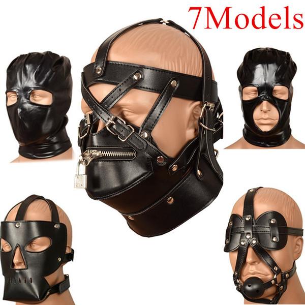 7 Models PU Mask Restraint Tape Mouth Gags Ball Slave Oral Fixation Stuffed Flirting BDSM Head Hood Sex Toys for Men J10-1-66