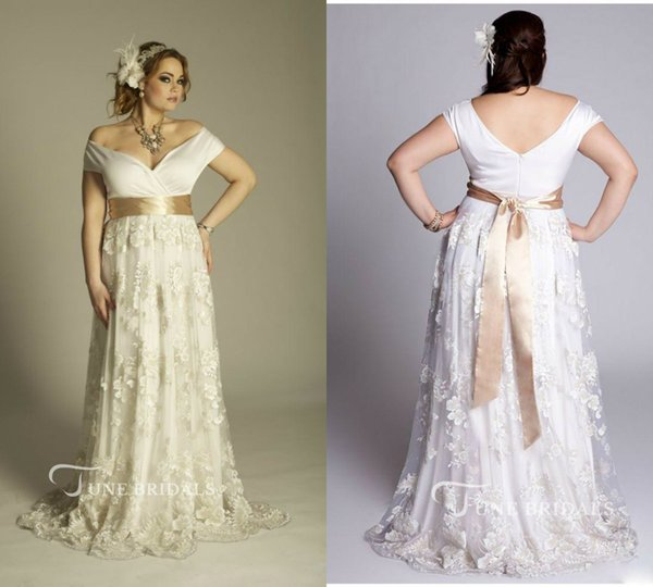 Discount Modest Plus Size Wedding Dresses Off The Shoulder Lace Appliqued  Sash Sweep Train Country Bridal Gowns Cheap Beach Wedding Dress Custom Made  ...