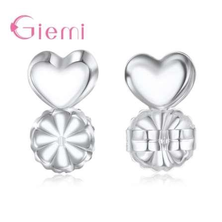 GIEMI Fashion S925 Sterling Silver Earring Backs Support Earrings Lift Lifters Fits All Post Earrings Backs 10PCS/5Pair