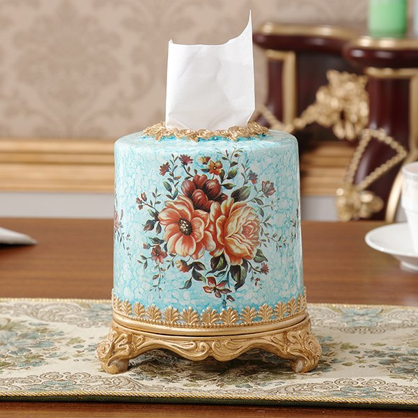 Europe type restoring ancient ways resin tissue box table napkin wipe boxes siing room hotel high-grade paper roll film packs