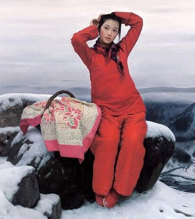 Handpainted & HD Printed Art oil painting Beautiful Chinese country girl in red with snow view On Canvas Multi Sizes Frame Options P307