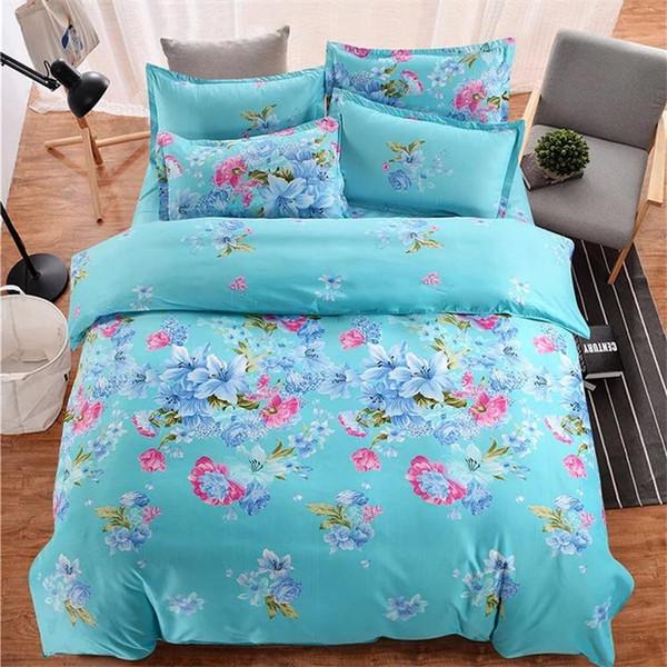 Fashion Cartoon Striped Plaid Flower Series Bedding Sets Korean Printed Cotton Bedding Kits 4pcs Suit Duvet Cover Set Bed Sheet Pillowcases