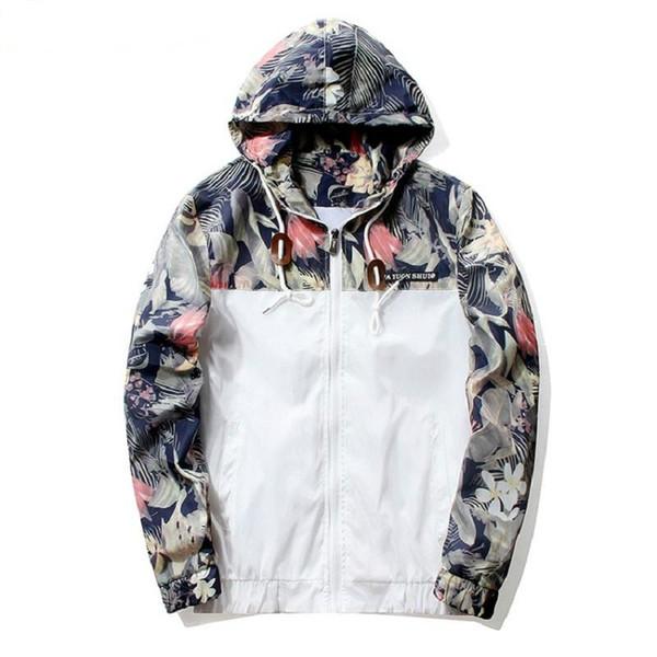 Grandwish цветочные бомбардировщик куртка мужчины хип-хоп Slim Fit цветы пилот бомбардировщик куртка пальто Мужские куртки с капюшоном плюс размер 4XL , PA571