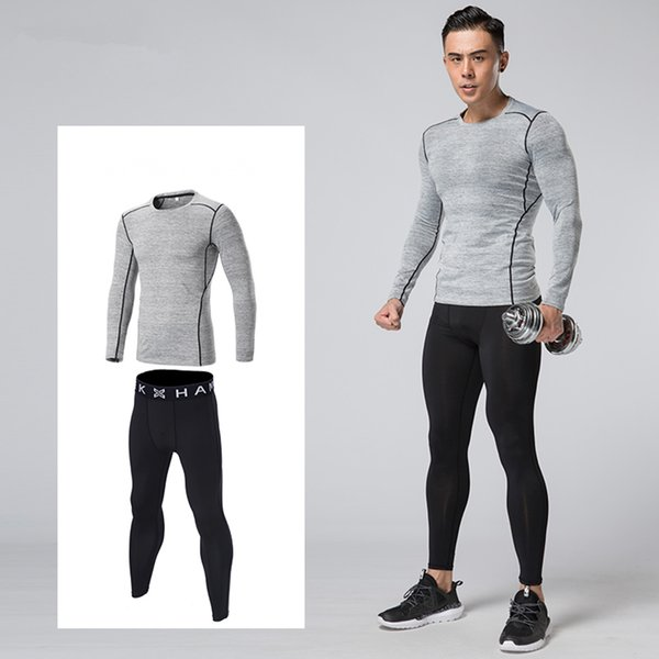 Men Compression Base Layer Running Set Basketball Soccer Football Tennis Fitness GYM Sports Tights Shirts Pants Leggings Suit