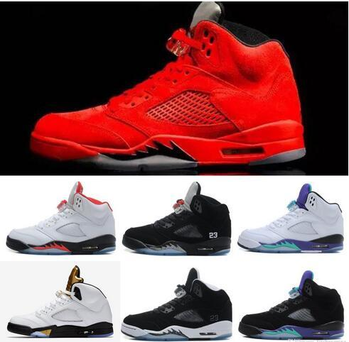 Brand Basketball shoes 5 5s Mens Sports Olympic OG Gold Raging Blue Suede Red Suede Blakc Metallic Fashion Sneakers Cheap