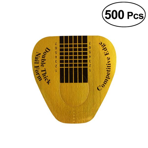 ETEREAUTY 500pcs Prego Formulário Nail Art Guide Extensão Etiqueta Pregos Ferramenta Titular Papel (Ferradura)