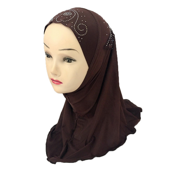 Girls Kids Muslim Beautiful Embroidery Hijab Islamic Arab Scarf Shawls Flower Pattern for 3 to 8 years old Girls