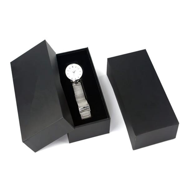 Wholesale Paper Watch Display Box Black Paper Design Watch Storage Box With Foam Custom Black Cardboard Gift Case