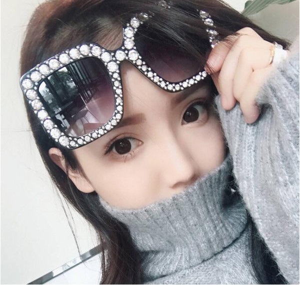 Top Quality Diamond Luxury Designer Sunglasses Women New Square Oversized Top Brand Vintage Sunglass Big Frame Female