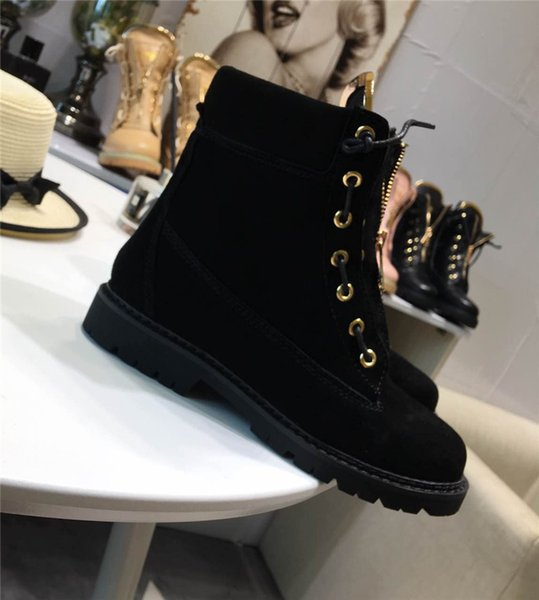 0Balmain34 Lady Lace-Up Ankle Boots Side Zip Buckled Leather Boots Suede Low Heel Round Toe Gold-Tone Hardware Martin Shoes Luxury Brand 36