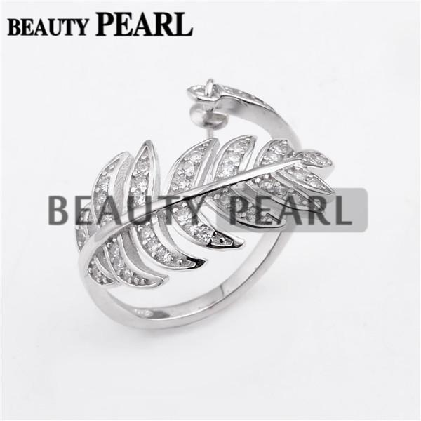 Big Leaves Design Pearl Ring Settings 925 Sterling Silver Cubic Zirconia Ring Semi Mounts 5 Pieces