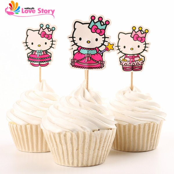 2016 New 24pcs Cupcake Toppers Lovely Cat Hello Kitty Baby Shower Favors Birthday Party Decoration Kids Party Decoration