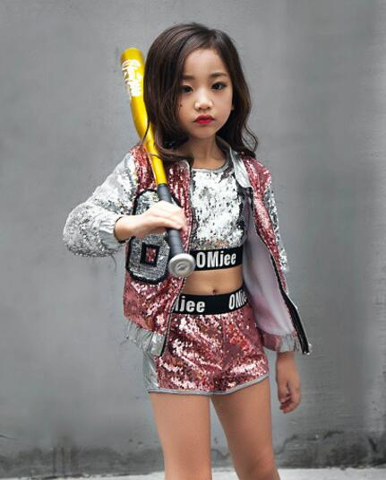 Children Girl hip Hop Jazz Costume Modern Ballroom Dance Wear Clothing Kids Sequined Sports Clothes For Girls 6 8 12 Years Old