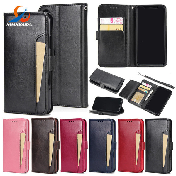 For Iphone X 8 7 Plus 6 6S Crazy horse Skin Book Style Flip Leather Wallet Case Soft TPU Back with Card Cover 1pcs