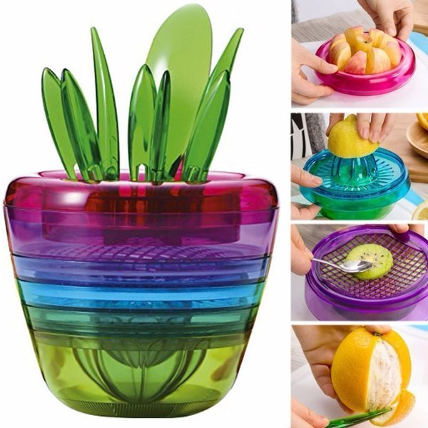 10pcs /Set Creative Colorful Fruit Salad Cutter Citrus Juicer Grinder Kitchen Gadget Flower Pot Cooking Tools Kitchen Accessories