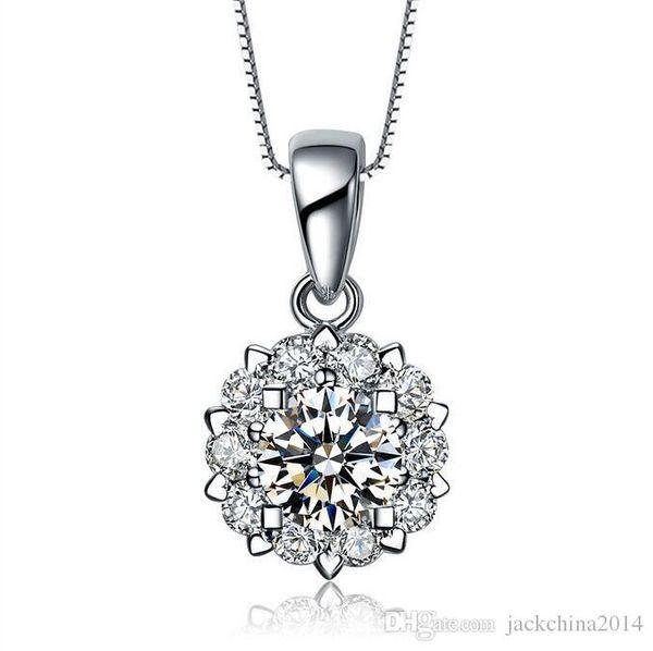 Luxury Jewelry 925 Sterling Silver Pave Stunning Round Cut White Sapphire CZ Diamond Gemstones Women Necklace Pendant No Chain