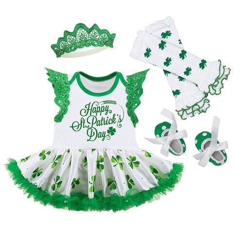 St Patrick Dress for Baby Girls Cotton Clothing Sets with Green Legging Warmers+Green Toddler Shoes Saint Patrick's Day