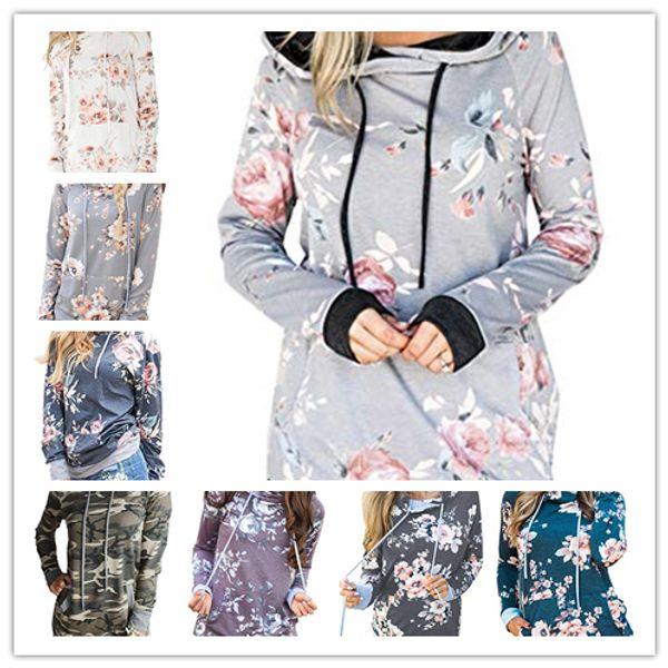 top popular Women Floral Hoodies 2018 Autumn Floral Printed Tops Long Sleeve Pocket Drawstring Sweatshirt Casual Kangroo Pocket Hoodies 2020