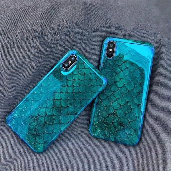 Blu-Ray Phone Case For iPhone X XR XS Max Fish Scale Soft TPU IMD Phone Back Cover For Iphone 6 7 8 Plus
