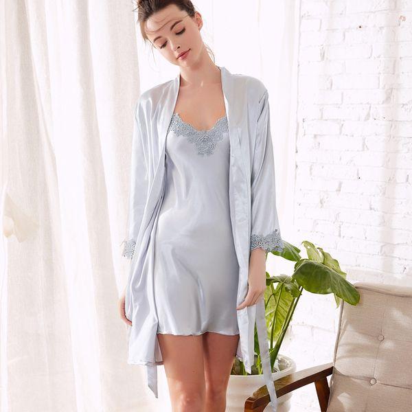 Elegant Women Silk Night Gown Set Solid Bathrobe and Mini Night Dress Full Sleeve Sleep Wear for Women Set Lingeries