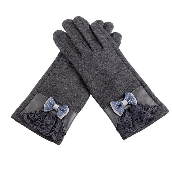 Women Cashmere Gloves Soft Wrist Winter Keep Warm Mittens Elegant Ladies Lace Bow Full Finger Gloves Mujer #VE