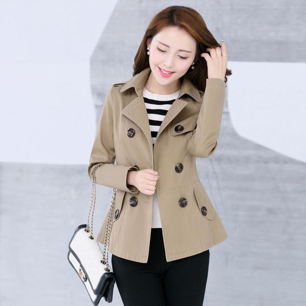 Trench Coat das Mulheres novas Primavera Outono 2018 Moda Casual Cáqui Jaqueta Curta Fino Misturas De Algodão Preto Tops Outerwear Feminino
