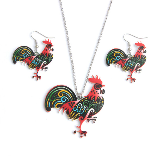 Animal Jewelry Sets For Women Statement Necklace Chicken Rooster Earrings Necklaces Farm Horse Crab Butterfly Rabbit Party Jewelry Sets