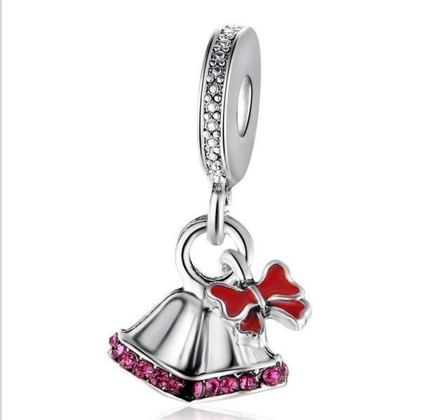Serve para pandora pulseira de prata esterlina 10 pcs bowknot jingle bell beads encantos para cobra europeia charme cadeia de moda diy jóias atacado