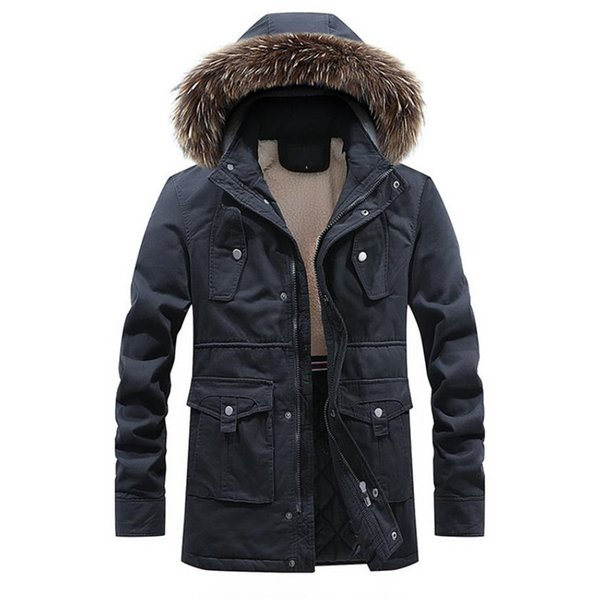 2018 Brand Men's Fur Collar Parka Coats Winter Male Parkas Casual Thick Outwear Fleece Jackets Warm Overcoats Men