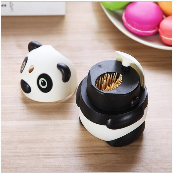Plastic Cute Panda Toothpick Holder Toothpick Box Table Decor Automatic
