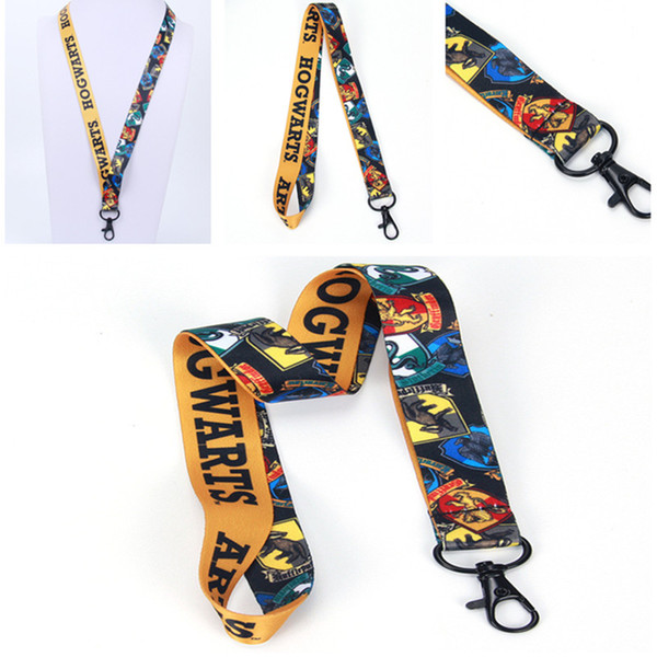 Harry Potter Keyring Lanyard Hogwarts School fabric Phone Strap Charm Cord Lariat Clip Anti-lost Lanyards Keychain for Men Women Kids New