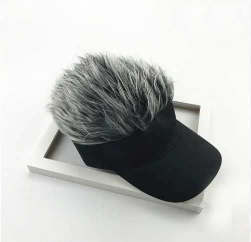 Novelty Adjustable Visor with Spiked Hair Joke Gag Visor Hat Cap Party Man Snapback Caps Hip Hop