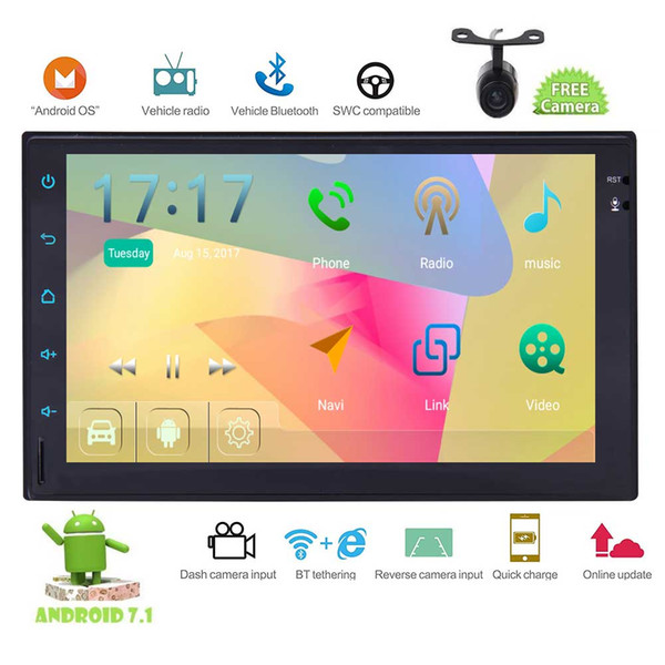 Rear Camera+Android 7.1 Double Din Car Stereo 7'' GPS Navigation Bluetooth FM/AM RDS Radio WIFI 4G Subwoofer OBD2 Mirror Link SWC