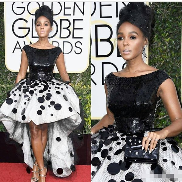 Janelle Monae Celebrity Ball Gown Party Dresses Prom Wear Black and White Sequins Handmade Flowers Tulle New Golden Globe Evening Gowns