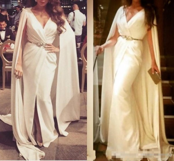 Formal White Evening Dresses With Cape Ruffles Beaded Sashes V Neck Party Dress Cheap Long Sheer Front Split Prom Gowns