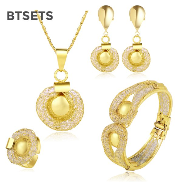 BTSETS Costume Wedding Jewelry Sets For Brides Gold Color African Women Jewelry Set Simple Bridesmaid Jewellery Set Accessories