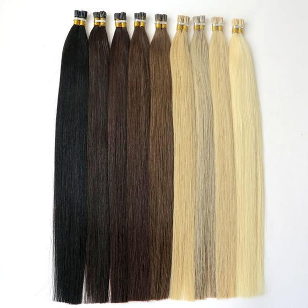 Lasting 2years Brazilian Hair Keratin I Tip Hair Full Cuticle Remy Indan Peruvian Malaysian Pre-bonded Human Hair Extensions