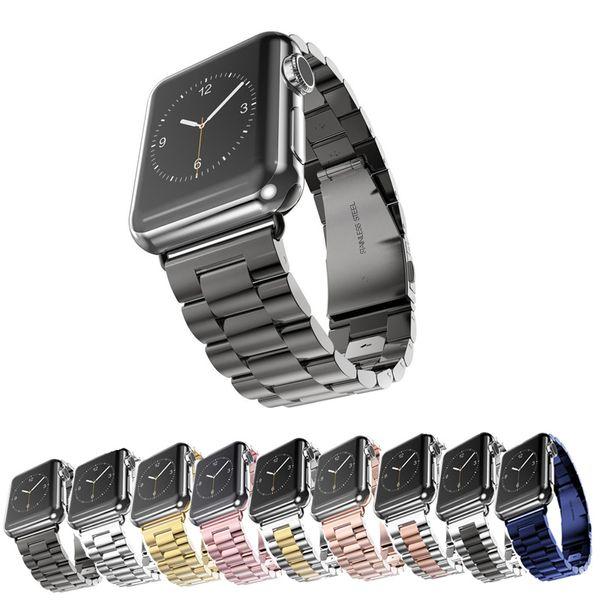Correa de reloj con correa para pulsera de eslabones de acero inoxidable con conector para Apple Watch serie iWatch 1 2 3 38 mm / 42 mm
