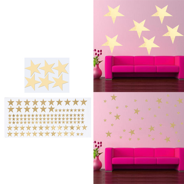 110pcs Wall Stickers DIY Gold Removable Star Sticker Five-pointed Star Wall Decor Plane Wall Postor Cartoon Home Decoration
