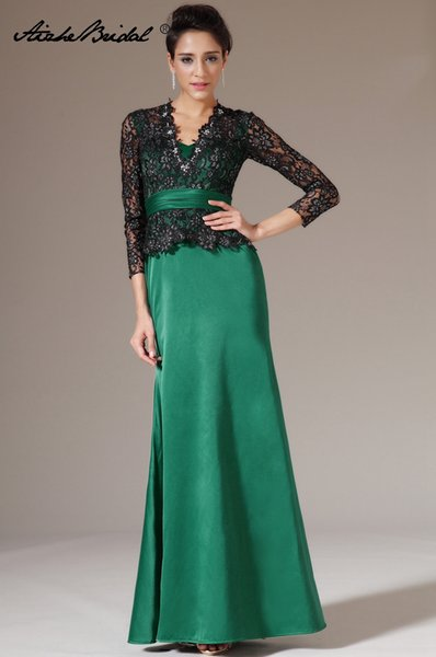 Real Photos 2018 new plus size V Neck Black Lace Green Satin formal Mother of the Bride Dresses