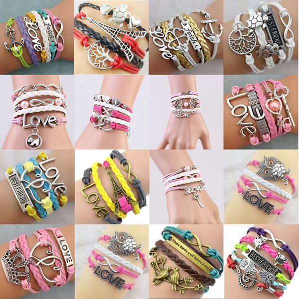 Designs Leather Bracelet Diy Infinity Charm Bracelets Multilayer Braided Bracelet Hand Rope Multilayer Heart Tree Of Life Jewelry Mens Silver