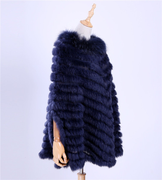 2017 New Women's Luxury Pullover Knitted Genuine Rabbit Fur Raccoon Fur Poncho Cape Scarf Knitting Wraps Shawl Triangle Coat Y18102010