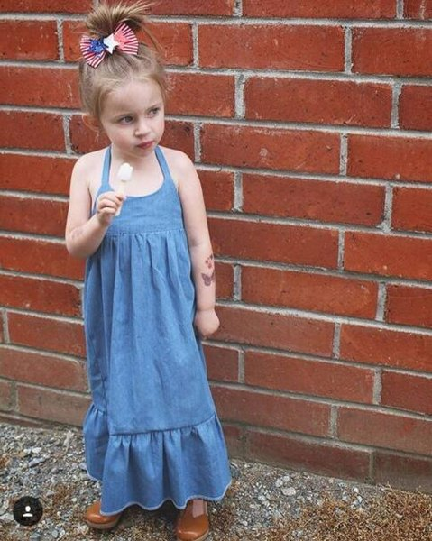 Everweekend Enfants Filles Vintage Denim Volants Halter Dress Summer Fashion Western Filles Douces Robe De Vacances Décontractée