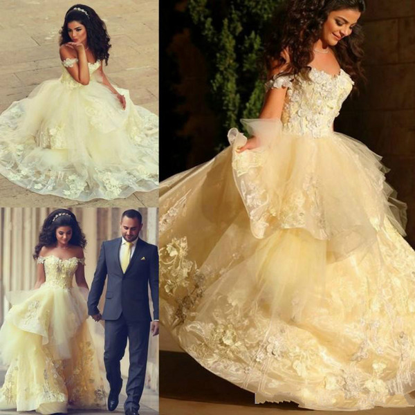 Beautiful Yellow Off The Shoulder Ball Gown Prom Dresses Elegant Puffy Organza Cinderella Floral Applique arabric Evening Party Tiered Skirt