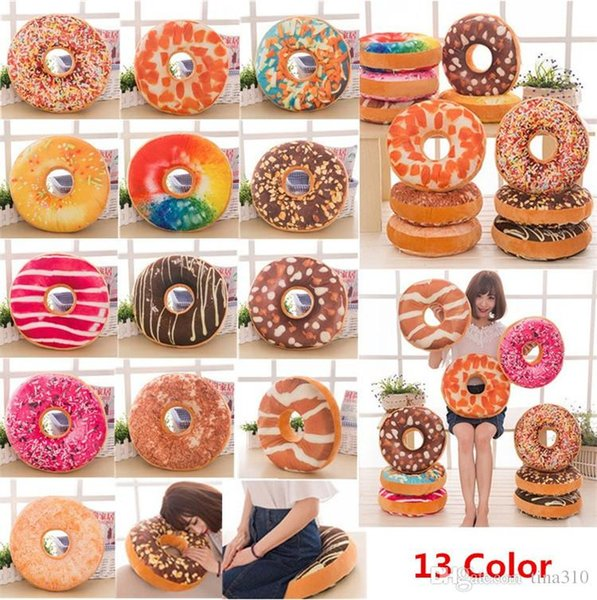 Hot 13 Styles 40cm Doughnut Pillow Shaped Ring Plush Soft Cushion Colorful Donut Pizza Cushion Decorative Pillow Plush toys IB376