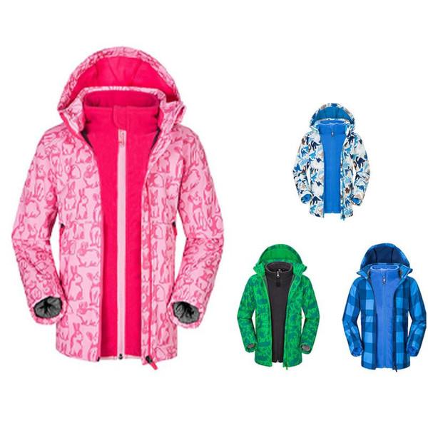 Children Unisex Outdoor Waterproof Windbreaker Jacket 3 in 1 Soft Shell Fleece Liner Keep Warm Children's Windproof Outerwears